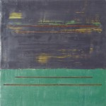 """Interval"" encaustic with steel 12 x 12"