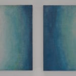 """Uranus"" diptych, encaustic and oil, 16x34"