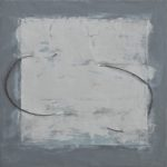 """Gray 2"", encaustic and mixed media on paper and wood panel, 16x16"