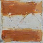 """Orange"", encaustic and mixed media on paper and wood panel, 16x16"