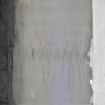 The Parting, encaustic and oil on paper, graphite and patina on steel, 24x60
