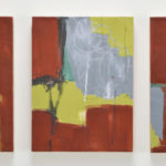 Through Redwood, triptych, encaustic and oil on wood panel, 16x38