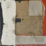 """""""Between the Lines"""", mixed papers, fabric, encaustic and oil on cradled wood panel, 16x16x1.5"""